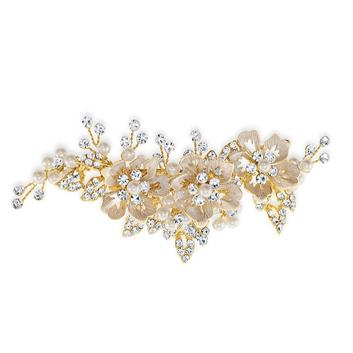 Bridal Gold Flower Hair Clip 142043