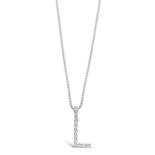 Bitter Sweet Jewelery Stainless Steel Cubic Zirconia Initial L Necklace 142319