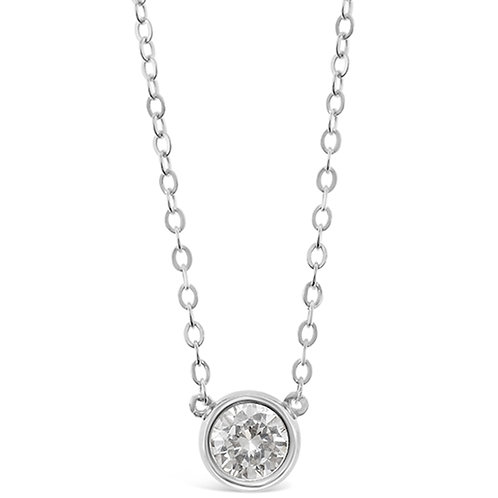 Bitter Sweet Sterling Silver Cubic Zirconia Bezel Necklace 143398