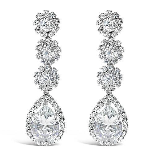 Fashion Silver Rhinestones Tear Drop Earrings 142198
