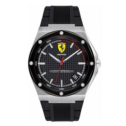 Scuderia Ferrari Mens Aspire Black Dial Date Display Black Rubber Strap 140019
