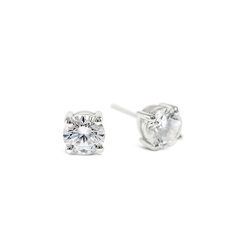 Sweet Bitter Sterling Silver Cubic Zirconia 8 Hearts 8 Arrows 5mm Studs 121867