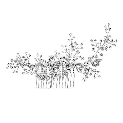 Bridal Silver leaf Hair Comb 120665