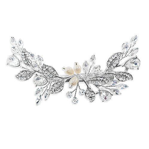 Bridal Silver Hair leaf Pearl Clip 137530