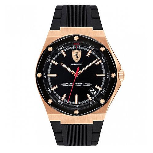 Scuderia Ferrari Mens Aspire Rose Gold Black Dial Date black rubber strap 140017