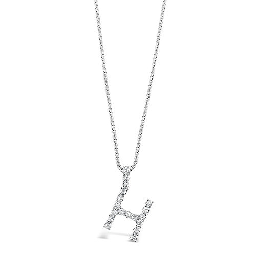 Bitter Sweet Jewelery Stainless Steel Cubic Zirconia Initial H Necklace 142316