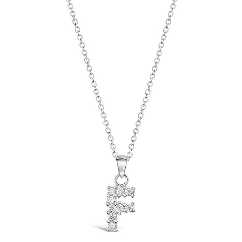 Sterling Silver Cubic Zirconia Initial F Necklace