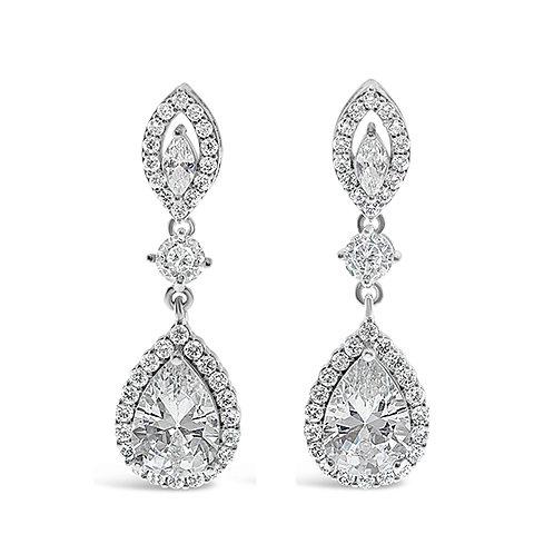 Silver Cubic Zirconia Tear Drop Earrings 137411