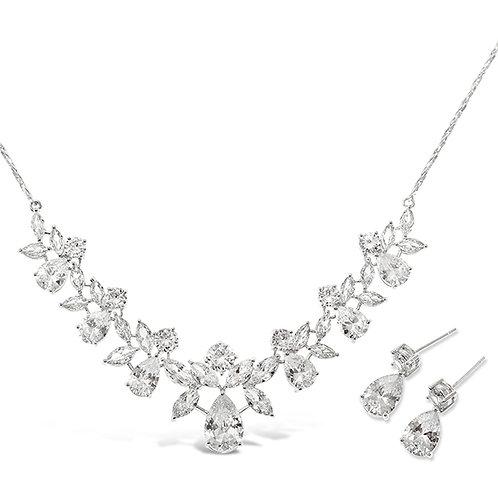 Bitter Sweet Bridal Silver Cubic Zirconia Necklace & Earrings Set 134561