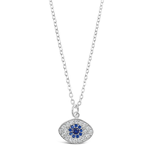 Bitter Sweet Sterling Silver Cubic Zirconia Evil Eye Necklace 142486