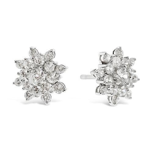 Sterling Silver Cubic Zirconia Flower Earrings 141614