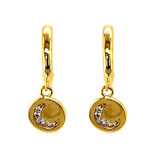 Bitter Sweet Gold Plated Sterling Silver Cubic Zirconia Moon Hoop Earrings 143547