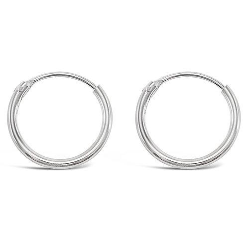 Bitter Sweet Sterling Silver Plain 12mm Hoops Earrings 141748