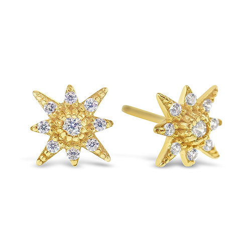 Bitter Sweet Gold Plated Sterling Silver Cubic Zirconia Star Earrings 141773