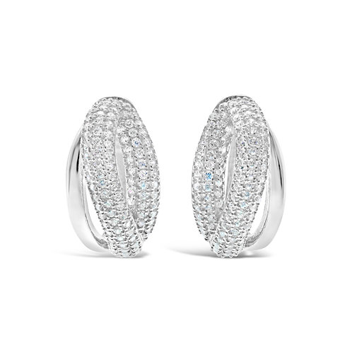 Sterling Silver Cubic Zirconia Huggie Earrings 132699