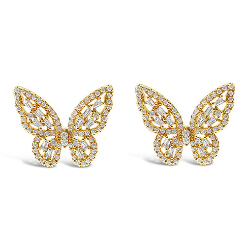 Bitter Sweet Gold Plated Sterling Silver Cubic Zirconia Butterfly Earrings 143007