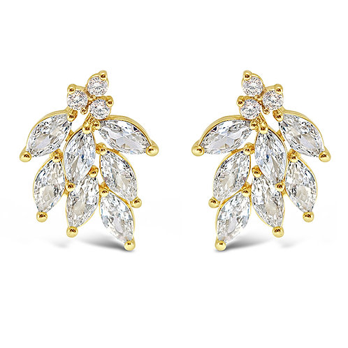 Bitter Sweet Gold Cubic Zirconia Stud Earrings 142873