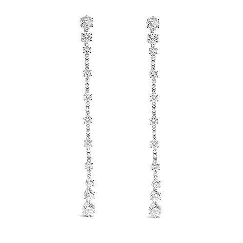 Sterling Silver Cubic Zirconia Long Earrings 132620