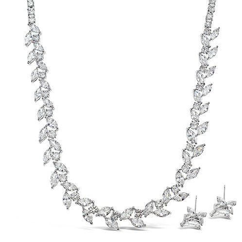 Bitter Sweet Bridal Silver Cubic Zirconia Necklace & Earrings Set 142905