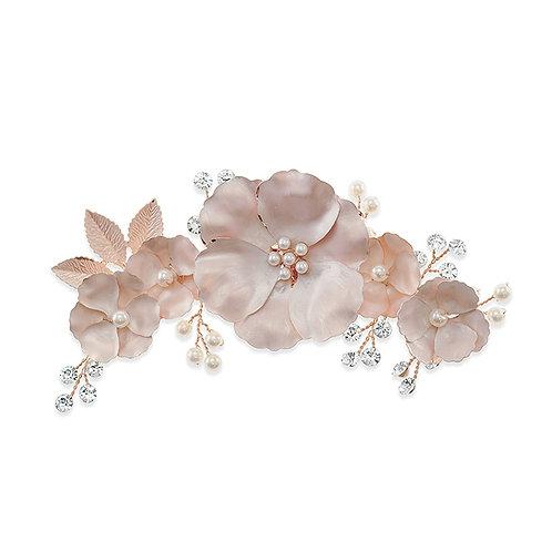 Bridal Rose Gold Matte Flower Hair Clip 142040