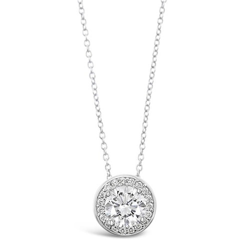 Bitter Sweet Sterling Silver Cubic Zirconia Round Necklace 129479