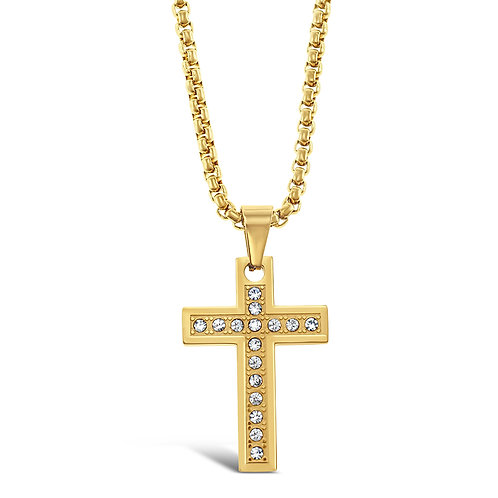Bitter Sweet Stainless Steel Gold Cross Necklace 142818