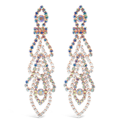 Fashion Rhinestones Rose Gold Chandelier Earrings 142173