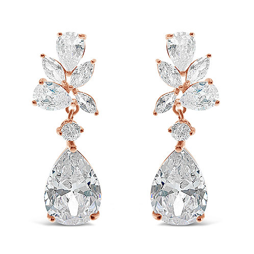 Rose Gold Cubic Zirconia Tear Drop Earrings 137417