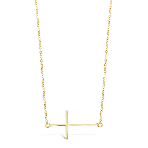 Bitter Sweet Gold Plated Sterling Silver Cross Sideway Necklace 142493