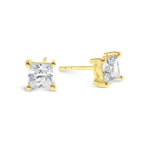 Bitter Sweet Gold Plated Sterling Silver Cubic Zirconia Princess Cut 5mm Studs 143342