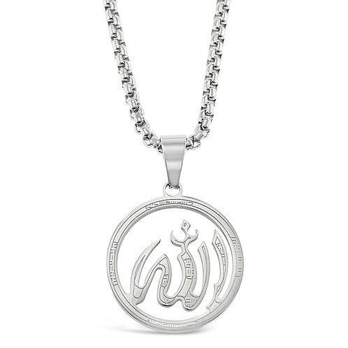 Bitter Sweet Stainless Steel Silver Allah Necklace 142824