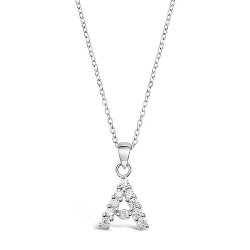 Bitter Sweet Sterling Silver Cubic Zirconia Initial A Necklace 142465