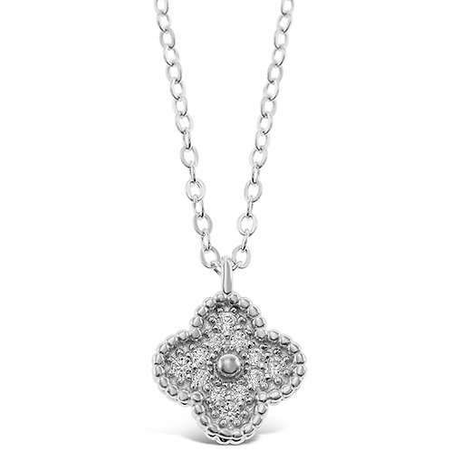 Bitter Sweet Sterling Silver Cubic Zirconia Flower Necklace 143394