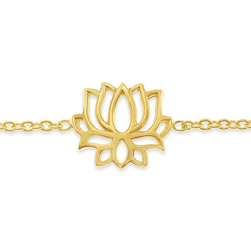 Bitter Sweet Gold Plated Sterling Silver Cubic Lotus Bracelet 141826