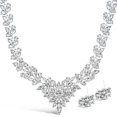 Bitter Sweet Bridal Silver Cubic Zirconia Necklace & Earrings Set 126687