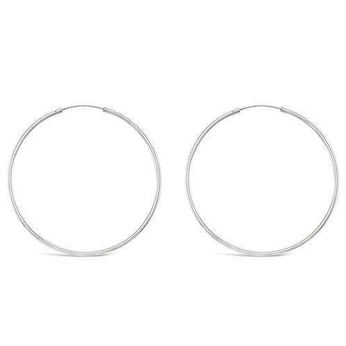Sterling Silver Plain 60mm Hoops Earrings 129197