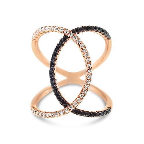 Rose Gold Plated Sterling Silver Cubic Zirconia Ring 132706