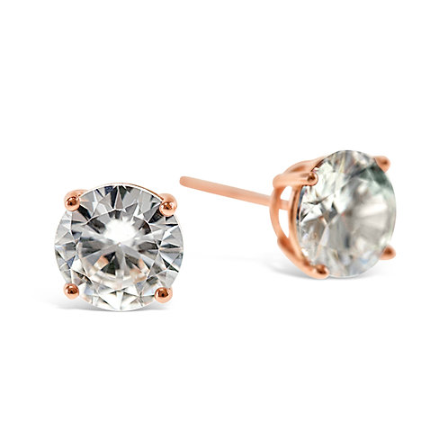 Bitter Sweet Rosegold Plated Sterling Silver Cubic Zirconia 7mm Studs 126019