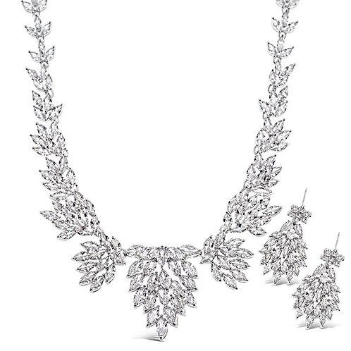 Bitter Sweet Bridal Silver Cubic Zirconia Necklace & Earrings Set 143599