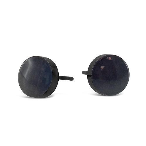 Bitter Sweet Jewelery Stainless Steel Black Round Earrings 142424