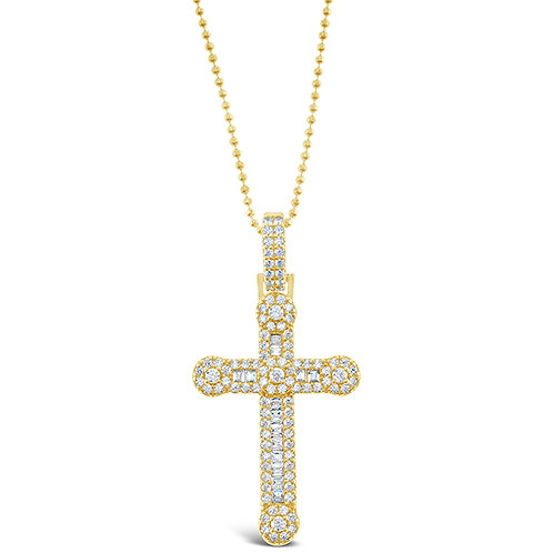 Bitter Sweet Gold Plated Sterling Silver Cubic Zirconia Cross Necklace 142835