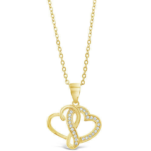 Bitter Sweet Gold Plated Sterling Silver Cubic Zirconia Heart Necklace 143409