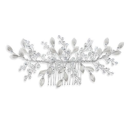 Bridal Silver Leaf Hair Comb 142067