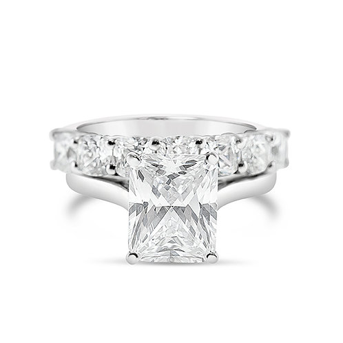 Bitter Sweet Sterling Silver Cubic Zirconia Radiant Cut Set Ring 143486