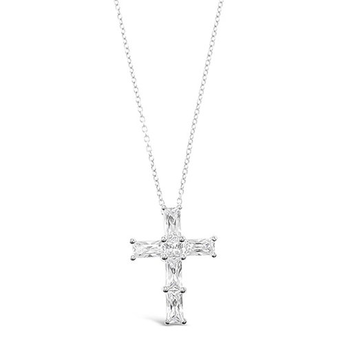 Bitter Sweet Sterling Silver Cubic Zirconia Baguette Cross Necklace 141133