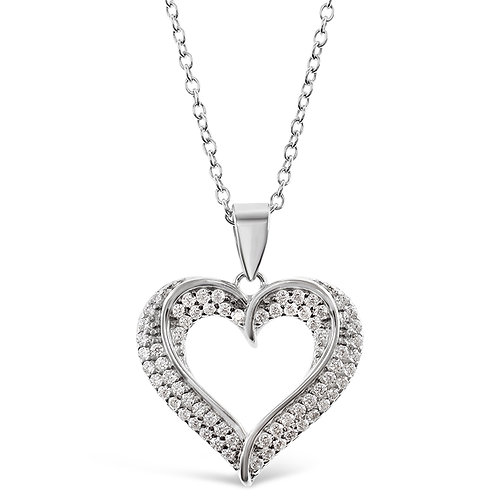 Sterling Silver Cubic Zirconia Heart Necklace 133258