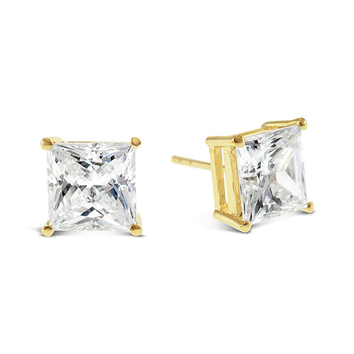 Bitter Sweet Gold Plated Sterling Silver Cubic Zirconia Princess Cut 9mm Studs 143344