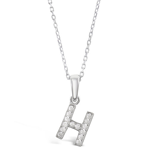Bitter Sweet Sterling Silver Cubic Zirconia Initial H Necklace 135924