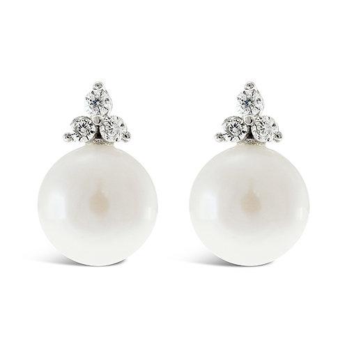 Bitter Sweet Sterling Silver Cubic Zirconia Pearl Earrings 143286