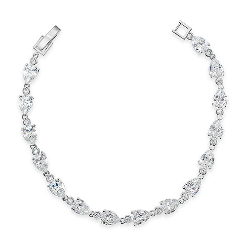 Bridal Cubic Zirconia Silver Tear Drop Bracelet 131638-10124401